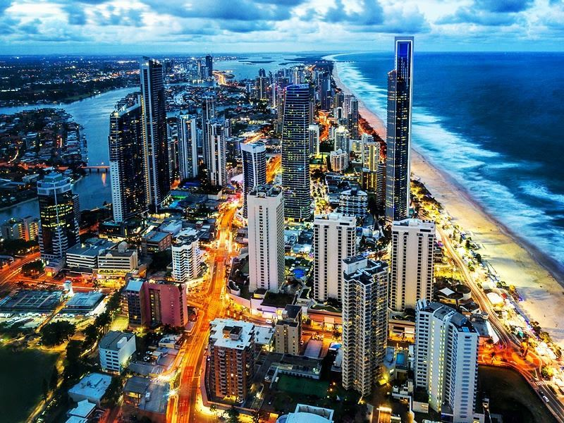 Aerial night view of Surfers Paradise, Queensland