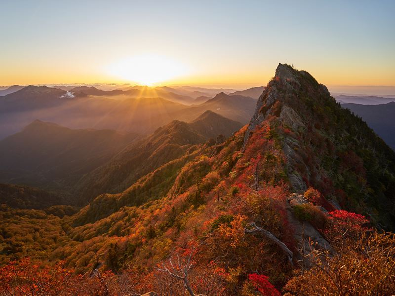 autumn leaves sunrise mt ishizuchi