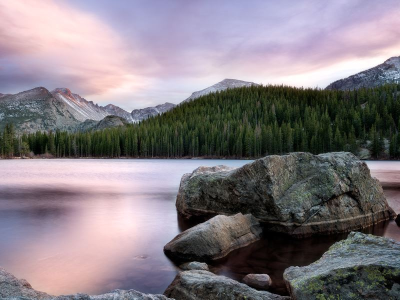 Bear Lake at sunset, Rocky Mountain National Park, Colorado