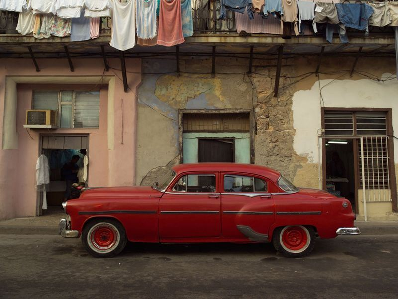 Havana street and iconic, classic car