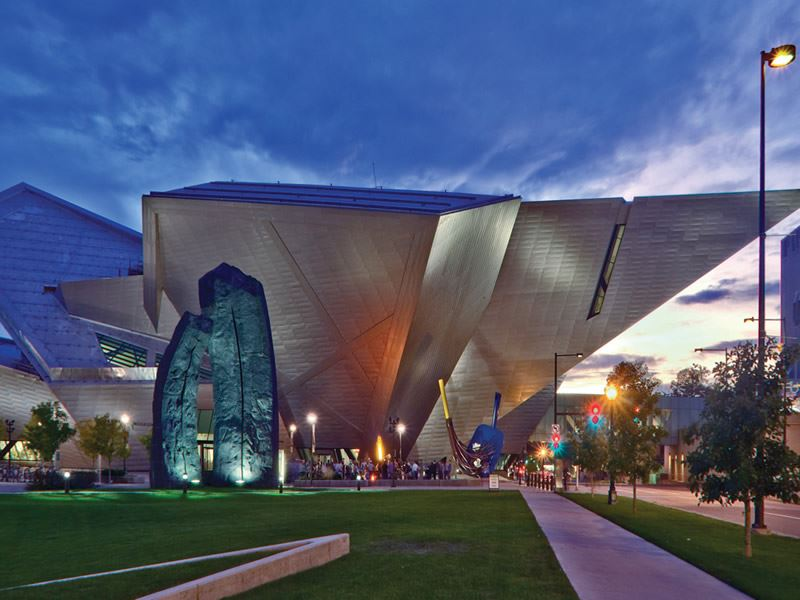 Denver Art Museum at sunset