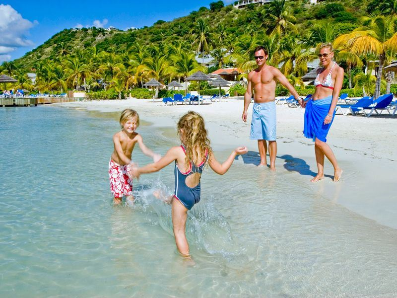 family fun on the beach at st jamess club villas