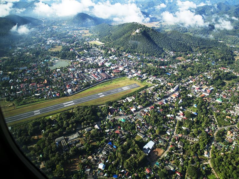 flying over mae hong son thailand