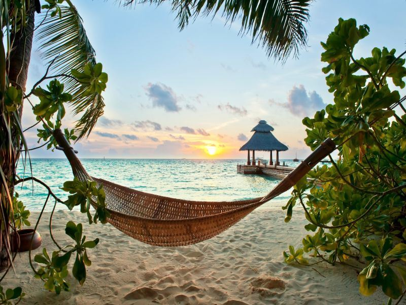 hammock on the beach in the maldives