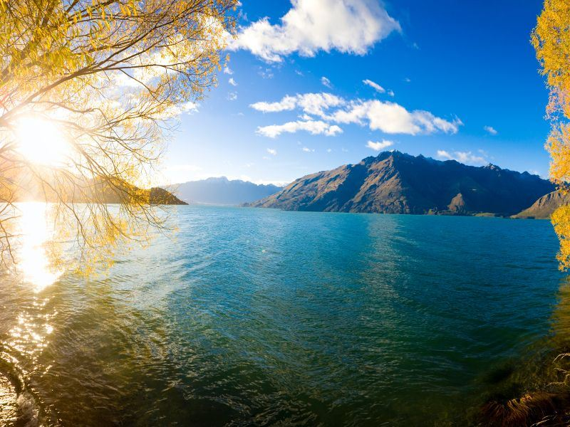 lake wakatipu with queenstown in the distance