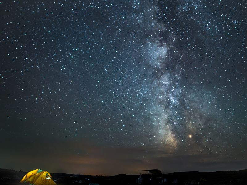 milky way above sage creek campground badlands south dakota