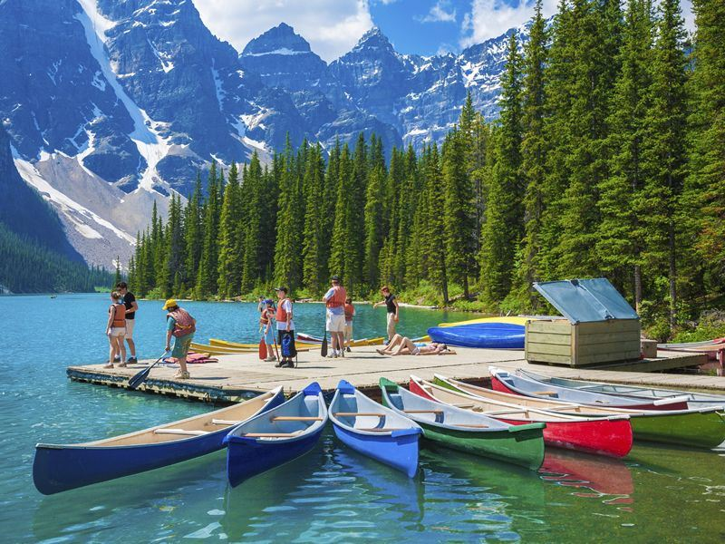 Canoes on Moraine Lake, Alberta