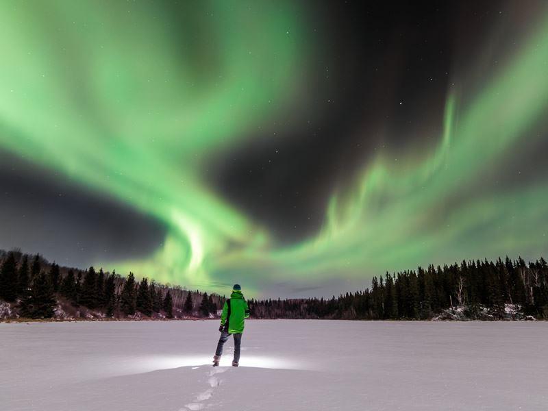 northern lights over cold lake alberta