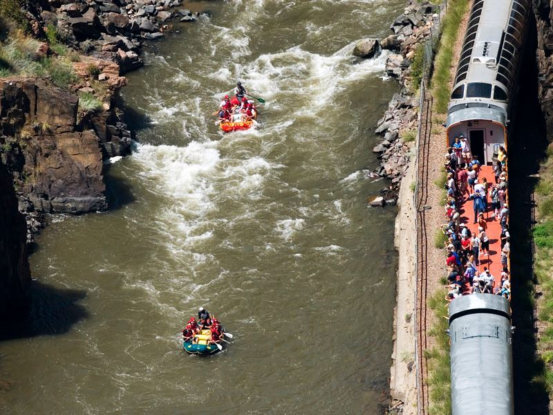 rafters and train riders meet in the royal gorge colorado matt inden miles