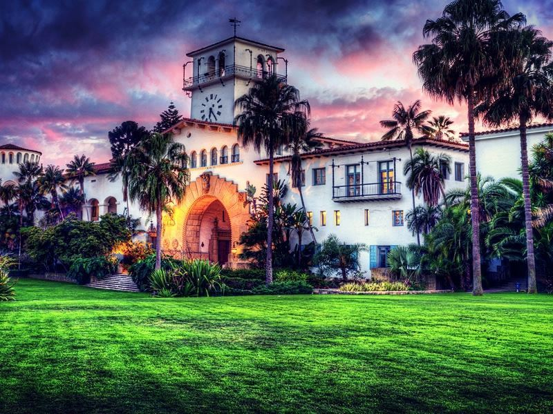 santa barbara courthouse sunset