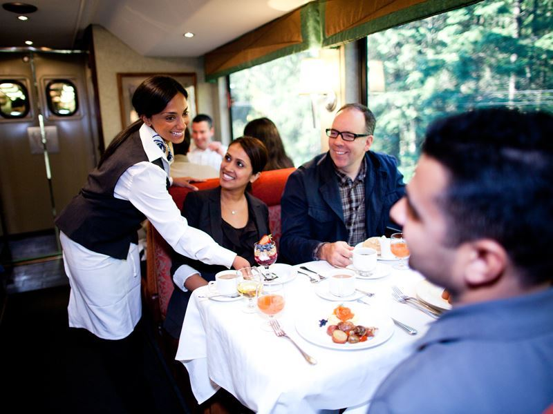 serving meals on board the rocky mountaineer