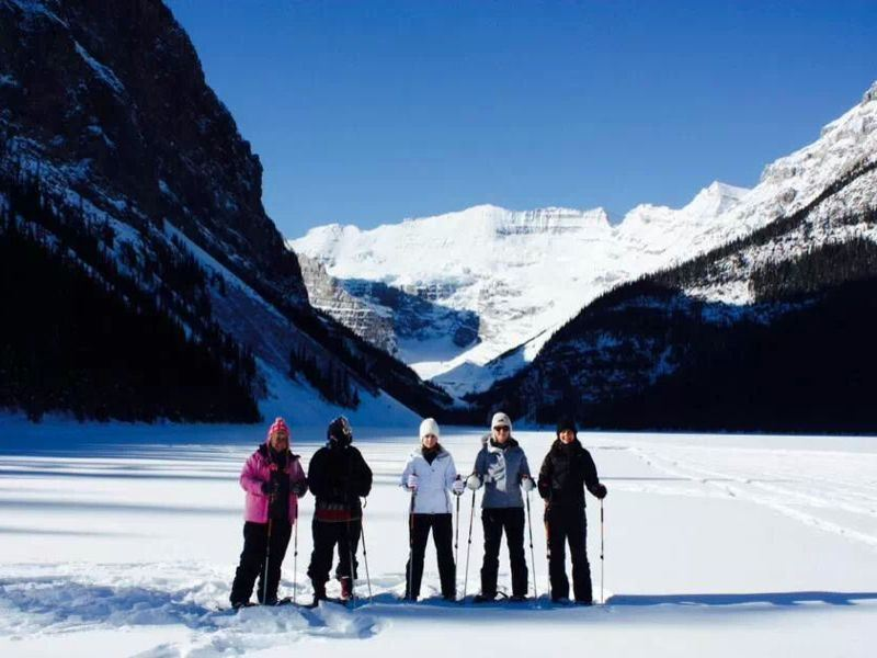 snow shoeing fairmont lake louise