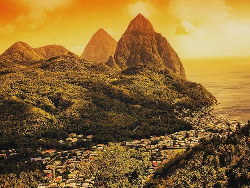 st lucia sunset over the incredible pitons
