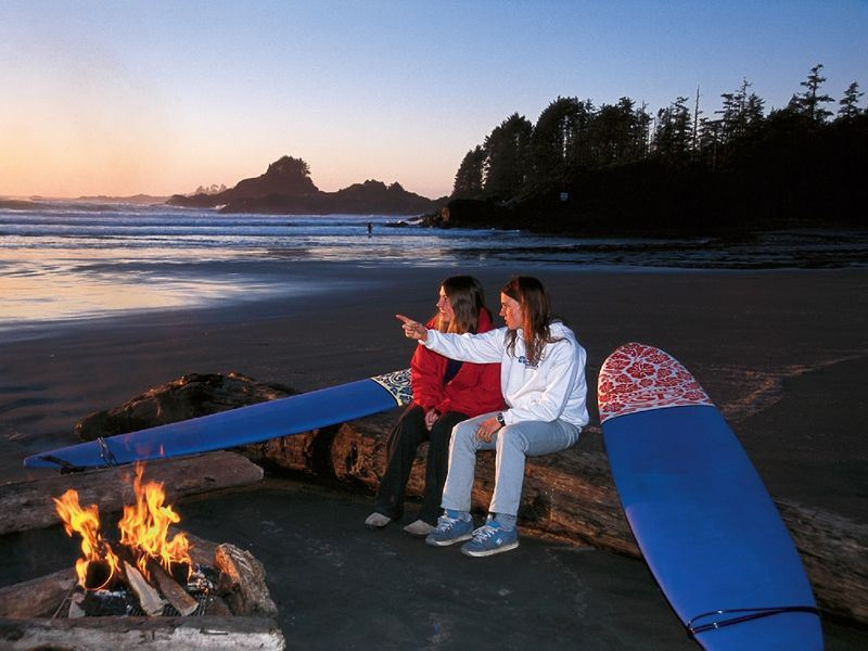 surf girls on the beach in tofino