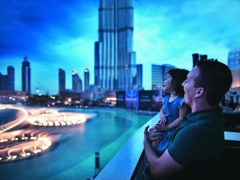 watching the fountain display at burj khalifa