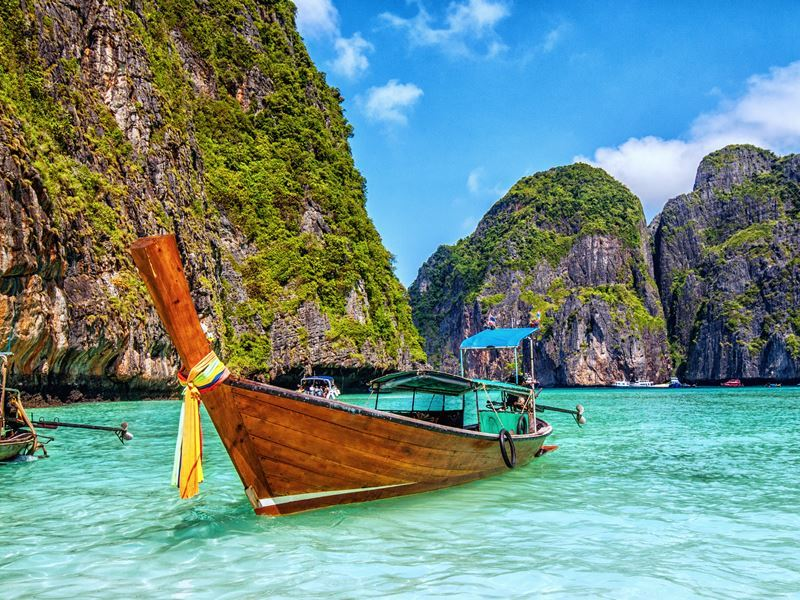 wooden longtail boat maya bay